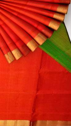 Green and tomato red Uppada soft silk saree with plain pallu-yespoho
