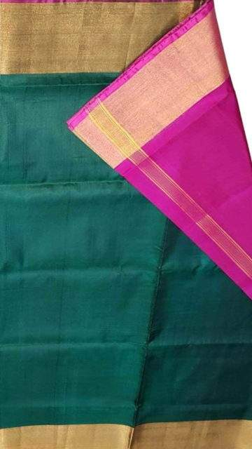 Green Green and pink Uppada soft silk saree with plain pattern