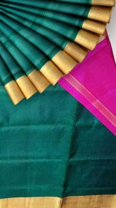 Green and pink Uppada soft silk saree with plain pattern-yespoho