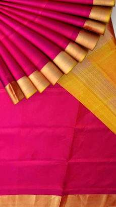 Mustard and pink Uppada soft silk saree