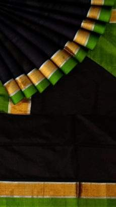 Green and black Uppada soft silk saree with Plain pallu-yespoho