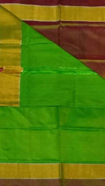 Brown Green and brown Uppada soft silk saree with plain pattern