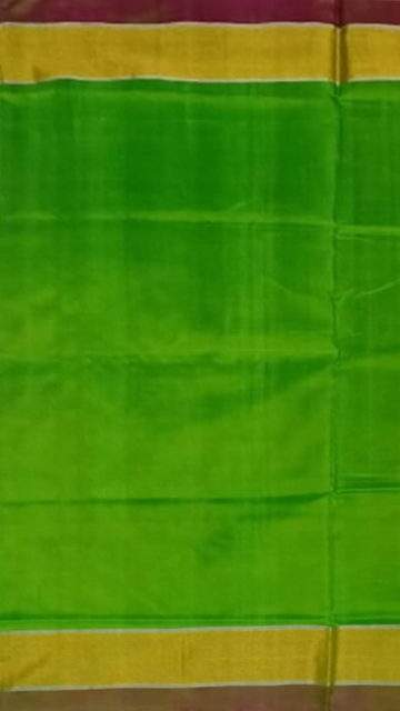 Yespoho Green and brown Uppada soft silk saree with plain pattern