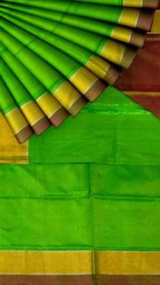 Green and brown Uppada soft silk saree with plain pattern-yespoho