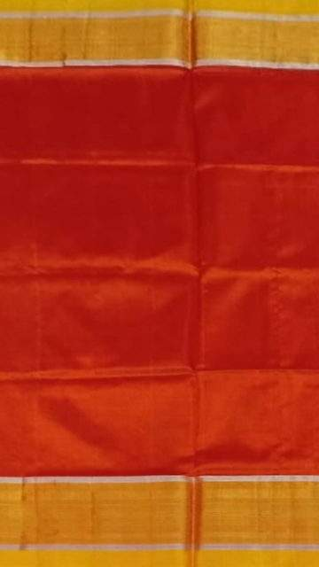 Yespoho Brick Red and yellow Uppada soft silk saree with silver border pattern