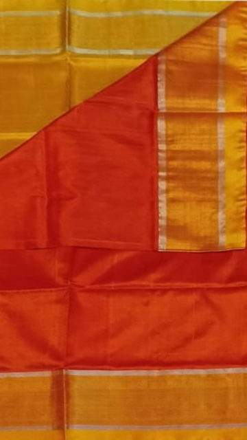 Brick Red Brick Red and yellow Uppada soft silk saree with silver border pattern