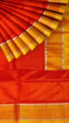 Brick Red and yellow Uppada soft silk saree with silver border pattern-yespoho