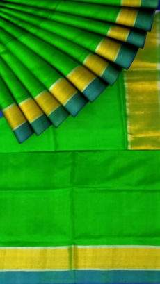 Green and Mustard Uppada soft silk saree with Plain pallu-yespoho
