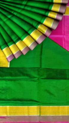 Green and shocking pink Uppada soft silk saree