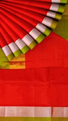 Green and red Uppada soft silk saree with Plain pallu-yespoho