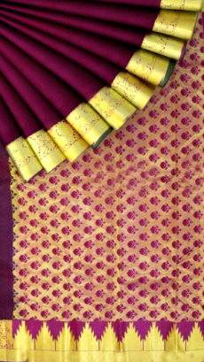Marron Kanchipuram Saree with Multi color pink-yespoho