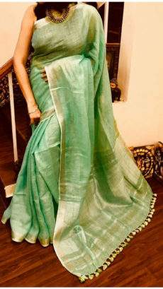 Pista Green Linen Saree with Striped Pallu-yespoho