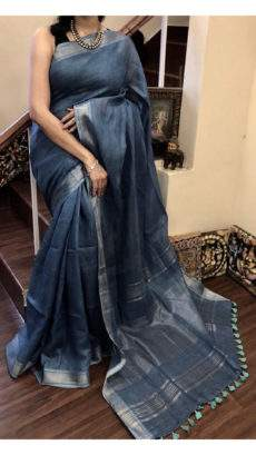 Dark grey blue and silver Linen Saree with Plain Pattern-yespoho