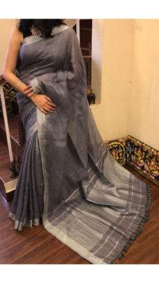 Plain Patterned Dark Grey Linen Saree coupled with Striped Pallu-yespoho