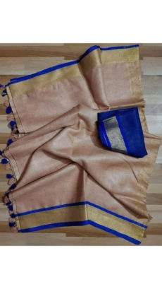 Brown and dark blue Linen Saree with plain pattern-yespoho