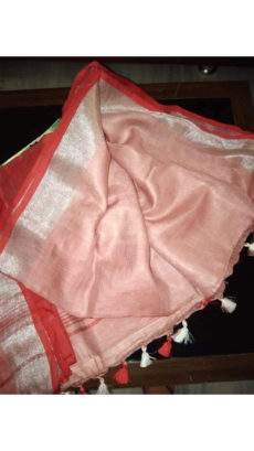 Peach Pink, Red, and Silver Linen Saree with Plain on a Semi-Contrast