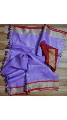 Violet linen saree with maroon and silver border-yespoho