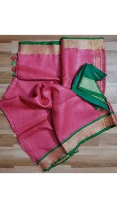 Plain Pattern Pink Linen Saree coupled with Striped Pallu-yespoho