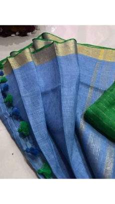 Blue Linen Saree with Dark Green Border-yespoho