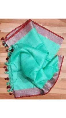 Light Teal linen saree with maroon and silver border-yespoho