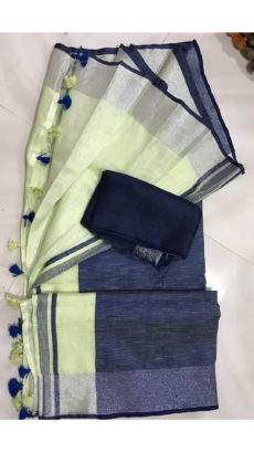 Light Yellowish Green Linen Saree with Silver and Thin Dark Blue Border-yespoho