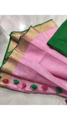 Plain pattern Light Pink Linen Saree