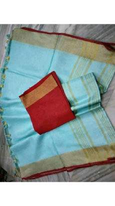 Aqua blue and maroon Linen