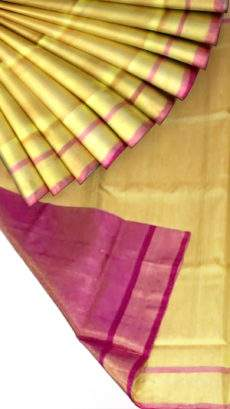 Golden Tissue Silk Saree with magenta pallu & border-yespoho