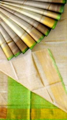 Off white Tissue Silk Saree with green pallu & golden border-yespoho