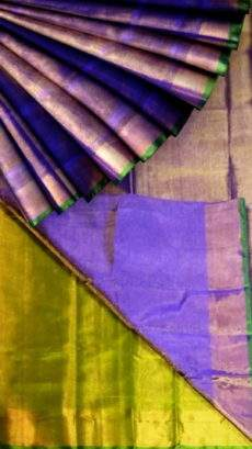 Violet tissue Silk Saree with green pallu & golden border-yespoho