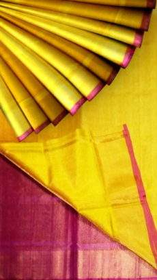 Golden Yellow Tissue Silk Saree with maroon pallu & golden border-yespoho
