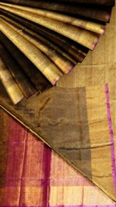 Golden brown Tissue Silk Saree with pink pallu & golden border-yespoho