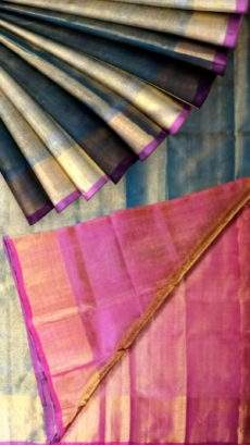 Teal Tissue Silk Saree with dark pink pallu-yespoho