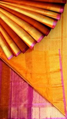 Mango colour Tissue Silk Saree with pink pallu & golden border-yespoho