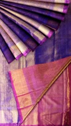 Violet color Tissue Silk Saree with pink pallu-yespoho