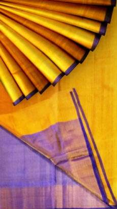 Golden Yellow Tissue Silk Saree with violet pallu-yespoho