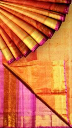 Orange Tissue Silk Saree with pink pallu & golden border-yespoho