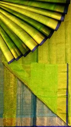 Green Tissue Silk Saree with teal pallu & golden border-yespoho