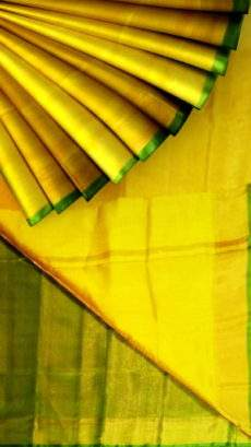 Yellow Tissue Silk Saree with green pallu & border-yespoho