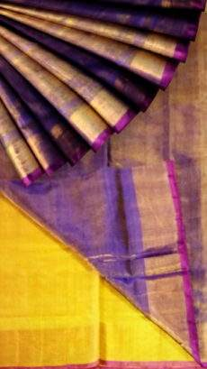 Violet Tissue Silk Saree with yellow pallu & pink border-yespoho