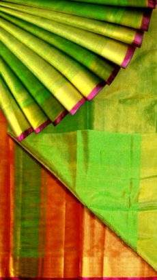 Green Tissue Silk Saree with red pallu & golden border-yespoho
