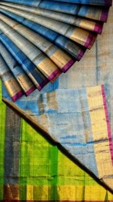 Blue Tissue Silk Saree with green pallu & golden border-yespoho