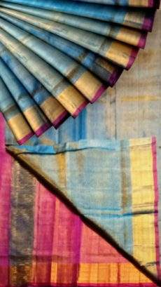 Blue Tissue Silk Saree with magenta pallu & golden border-yespoho