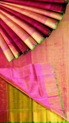 Pink Tissue Silk Saree with green pallu & golden border-yespoho