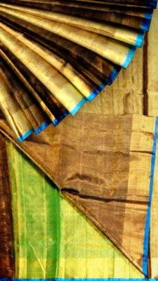 Golden brown Tissue Silk Saree with green pallu & golden border-yespoho
