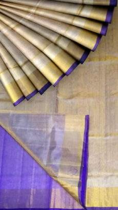 Grey Tissue Silk Saree with violet pallu & border-yespoho