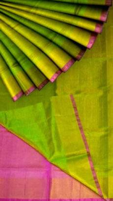 Green Tissue Silk Saree with dark pink pallu & golden border-yespoho
