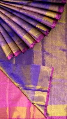 Violet color Tissue Silk Saree with pink pallu & golden border-yespoho