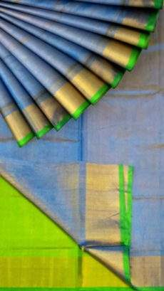 Blue Tissue Silk Saree with green pallu & border-yespoho