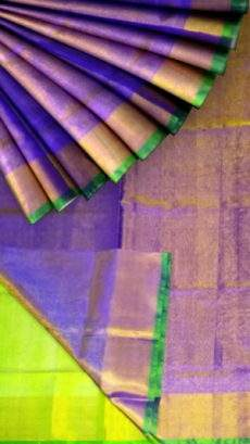 Violet Tissue Silk Saree with green pallu & border-yespoho
